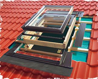 коробка, рама и оклад мансардного окна перед установкой