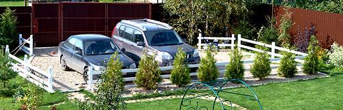 парковка для машин из щебня