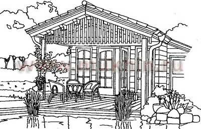 летняя кухня-домик с открытой верандой