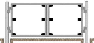готовый каркас ворот из сваренных профилей разрезают болгаркой на две части
