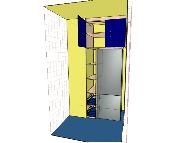 эскиз встроенного кухонного шкафа вместе с нишей для холодильника