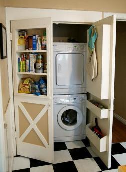 в данном случае в шкафу скрывают целую стиральную машинку и посудомоечную машину - главным образом для того, чтобы сохранить стилистическое единообразие кухни