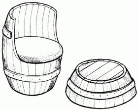 столик и кресло из остатков бочки