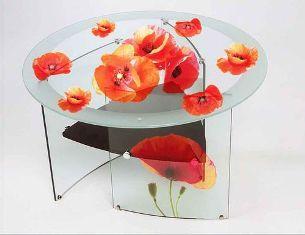 журнальнй столик с фотопечатью на стекле