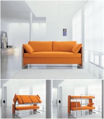 диван-трансформер превращается в двухспальную кровать