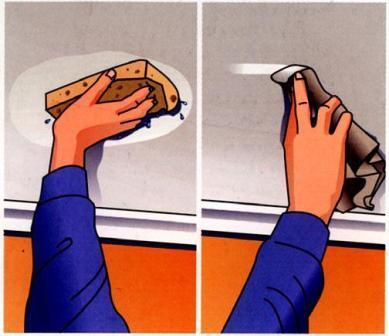 снятие старого покрытия и очищение потолка