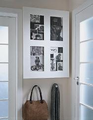 шкаф для ключей и счетчика замаскировано под рамку с фотографиями