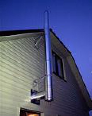 создать фото крепления дымохода на сайдинг просто выше крыше